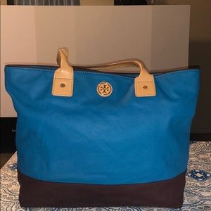 Tory Burch Canvas Leather Tote Handbag